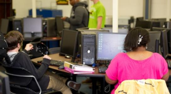 Student workin in Math Lab