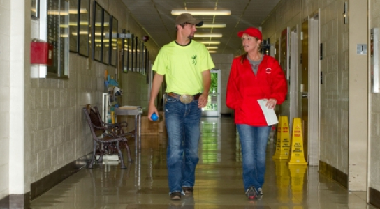 Students walking down the hall.