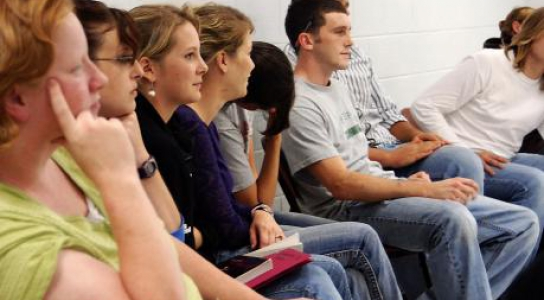 Image of DSCC students listening to class lecture.